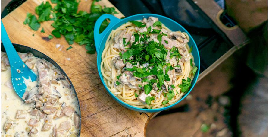 Camp Recipe: Creamy Mushroom and Bacon Pasta